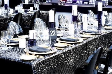 Amazing black sequin cloth with gold metallic accents and reflective decor details