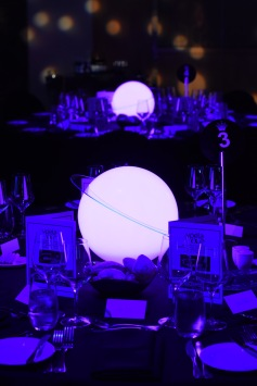 Close up of glowing planet centrepieces